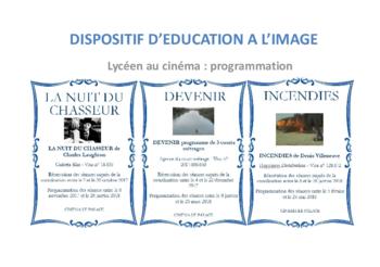 Programmation du dispositif d'éducation à l'image
